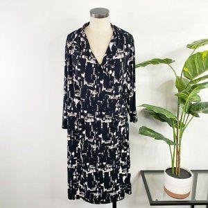 Coldwater Creek Faux Wrap Dress 22 Black White
